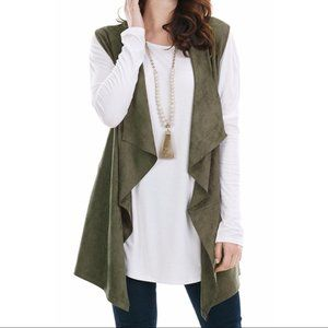 NWOT Mud Pie Vest Olive Open kimono Medium Large